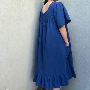 [vintage] cobalt blue tiered cotton ruffle dress